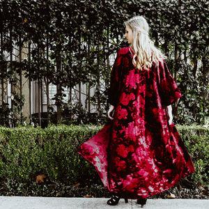 Fleur Velvet Floral Maxi Kimono Duster